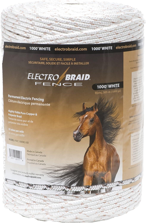 ElectroBraid PBRC1000W2-EB Horse Fence Conductor Reel, 1000-Feet,White 81sK8XIhxvL