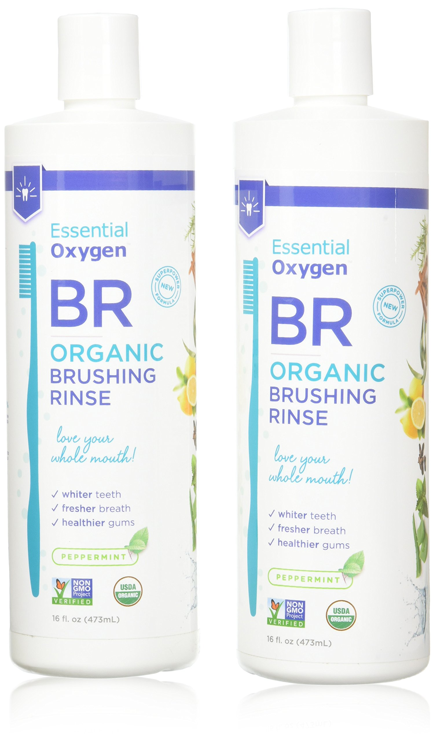 Essential Oxygen Plus Peppermint Brushing Rinse, 16 Ounce - 2 per case.