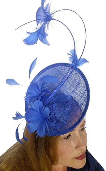 Martha Rose Boutique Royal Blue Statement Curve Saucer Fascinator with  Feather Flowers - Wedding Races  Amazon.co.uk  Clothing 14115813422