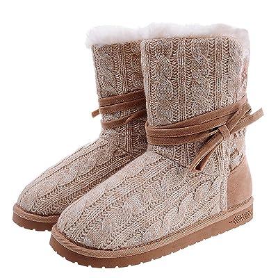 Shoeslocker Women's Warm Plush Bootie Slippers: Clothing