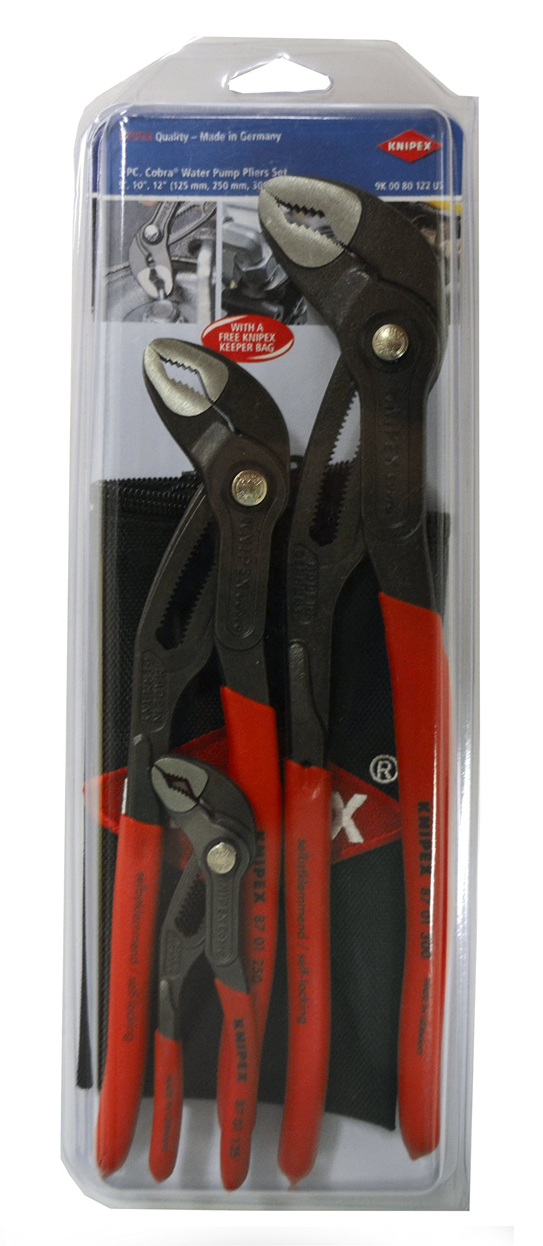 Knipex Tools 9K 00 80 122 US Cobra Pliers Tool Set with Keeper Pouch (3 Piece) by KNIPEX Tools