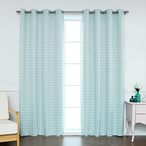Best Home Fashion Classic Houndstooth Check Room Darkening Blackout Grommet Top Curtains Stainless Steel Nickel Grommet Top Mint 52 W x 84 L
