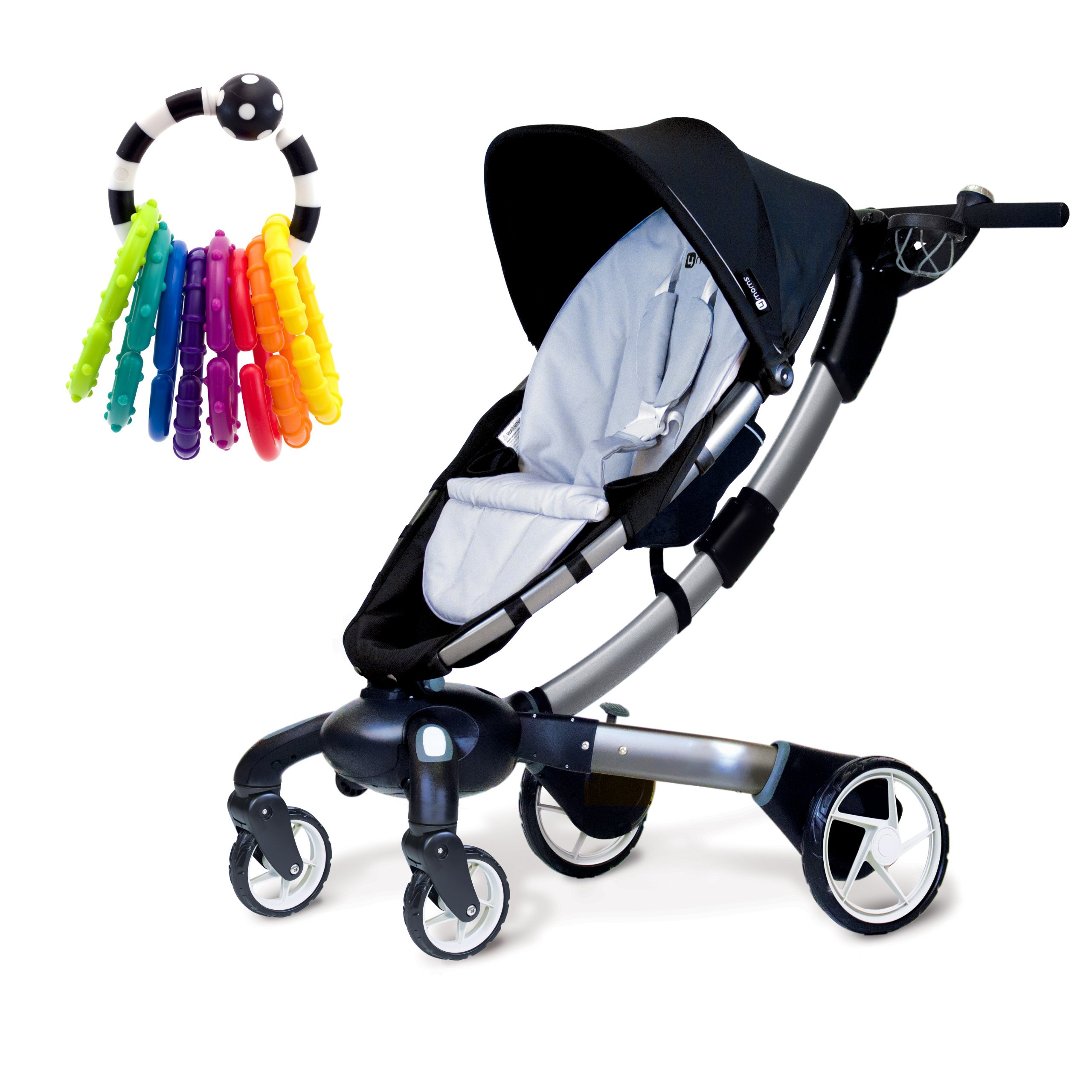 4moms Origami Stroller in Silver with Rattle Toy by 4moms