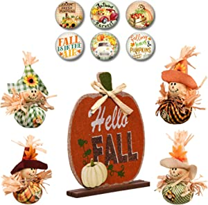 Modern Farmhouse Decor Autumn Tiered Tray Sign Decorations and Old Red Truck Fridge Magnets Welcome Pumpkins and Scarecrows (Orange Pumpkin Sign Bundle)