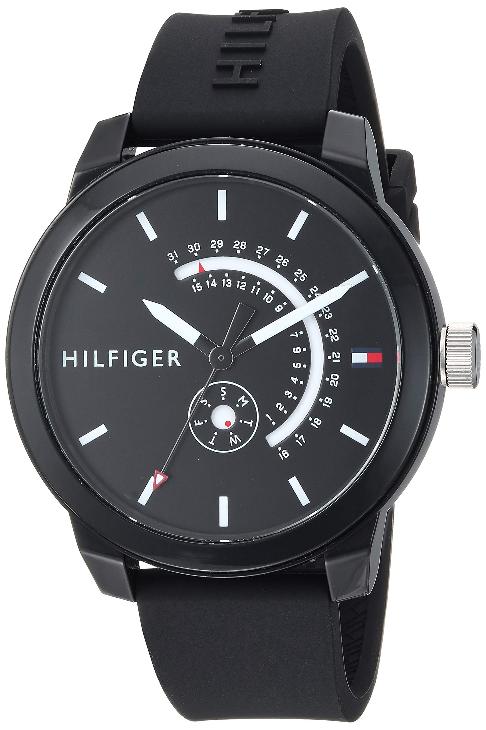 Tommy Hilfiger Men's Denim Quartz Watch with Silicone Strap, Black, 19.4 (Model: 1791483) by Tommy Hilfiger