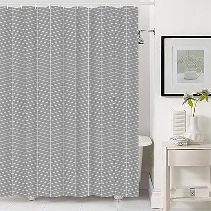 Grey Stripe Bathroom Shower Curtain With 12 Hooks Geometric Fabric Curtains Durable Waterproof Mildew Resistant