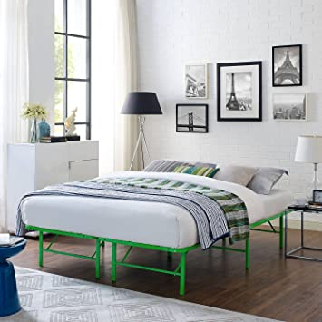 Queen Size Steel Bed Frame In Green Color Bedding Sturdy Powder Coated