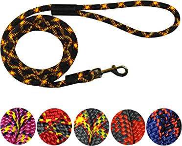 Downtown Pet Supply DTPS, Durable Dog Rope Leash, 6' feet, Black, Mountain Climbing Rope Leash