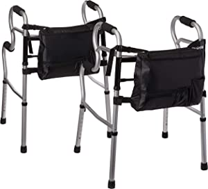 Medline MDS86410UR 3-in-1 Stand Assist Walker with Bag, Silver (Pack of 2)