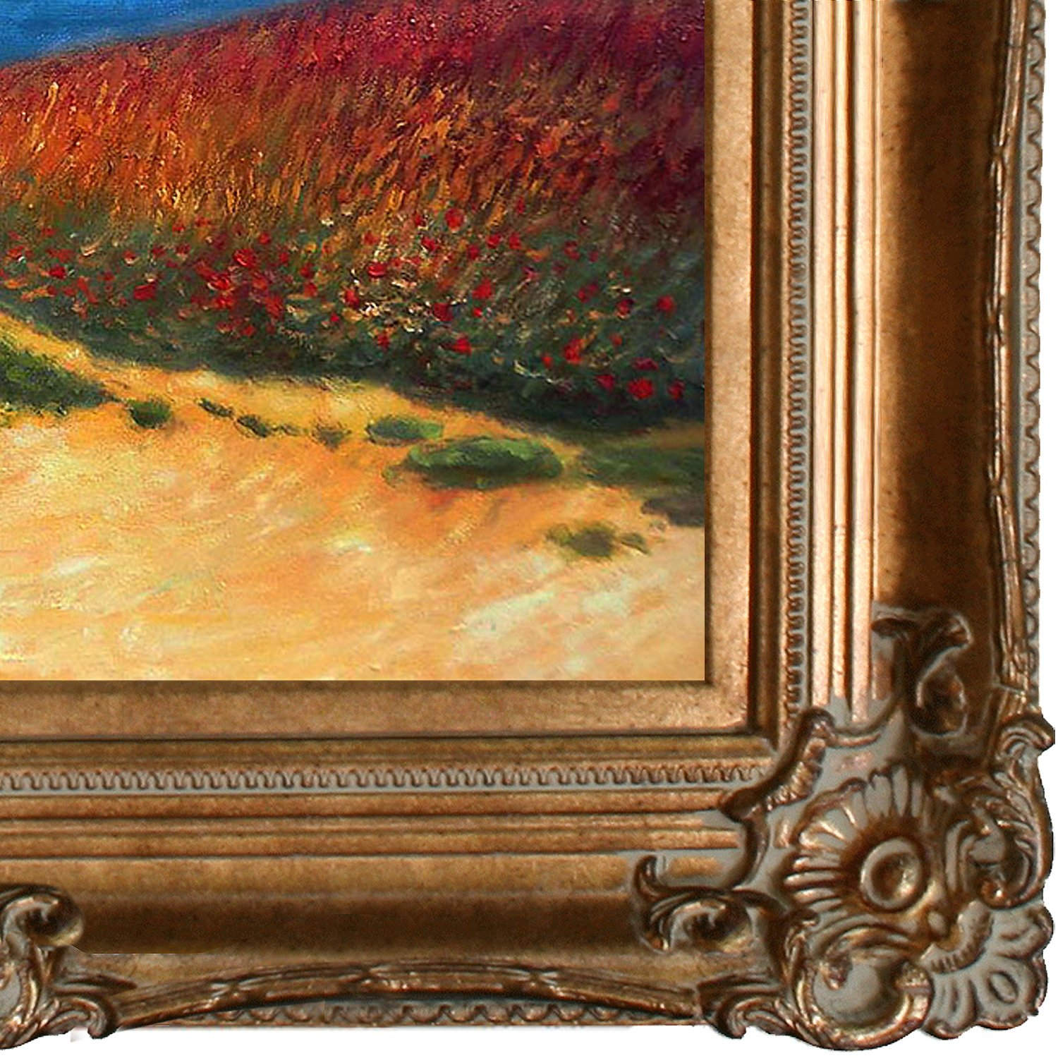 overstockArt Meadow Road to Pourville 1882 Artwork by Monet with Renaissance Bronze Frame MON1471-FR-801G20X24