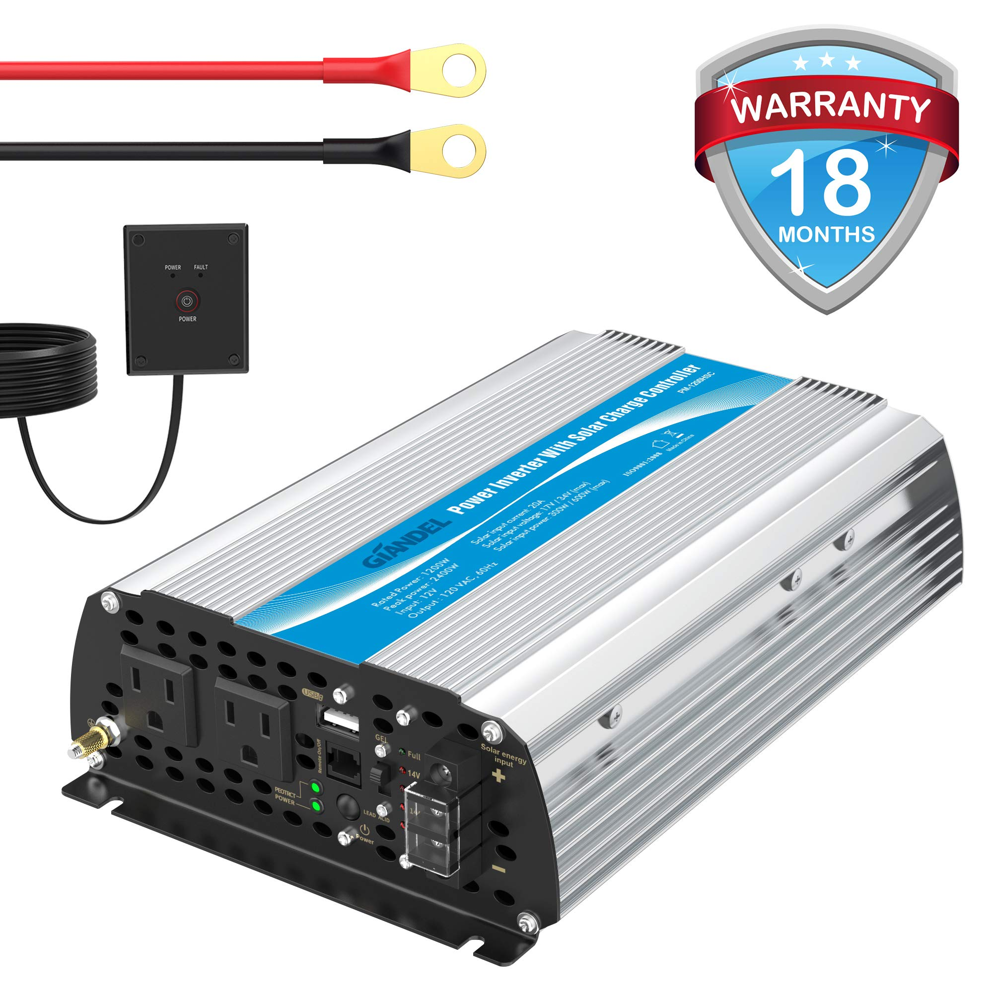 1200W Power Inverter DC12 Volt to AC 120 Volt with 20A Solar Charge Controller and Remote Control & USB Port for RV Truck Solar System by GIANDEL