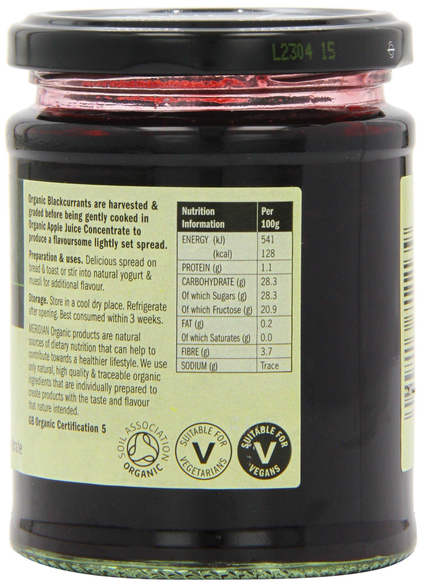 Meridian Organic Blackcurrant Fruit Spread 284 g (Pack of 6) by Meridian (Image #2)