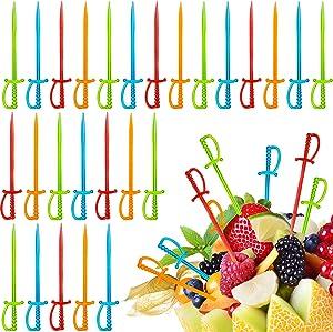 Plastic Cocktail Sword Picks Fruit Picks Colorful Appetizer Picks Drink Picks Multicolored Sword Toothpicks for Family Party Bar (200)