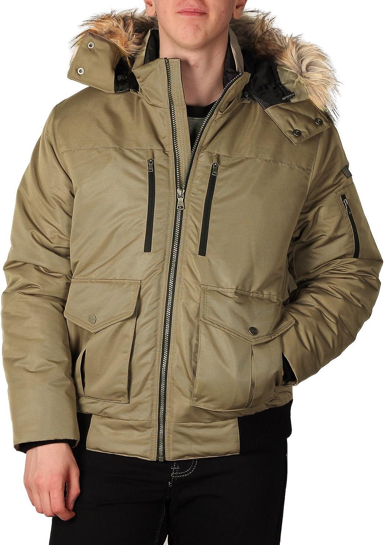 Sean John Mens Hooded Bomber Jacket with Faux Fur Trim