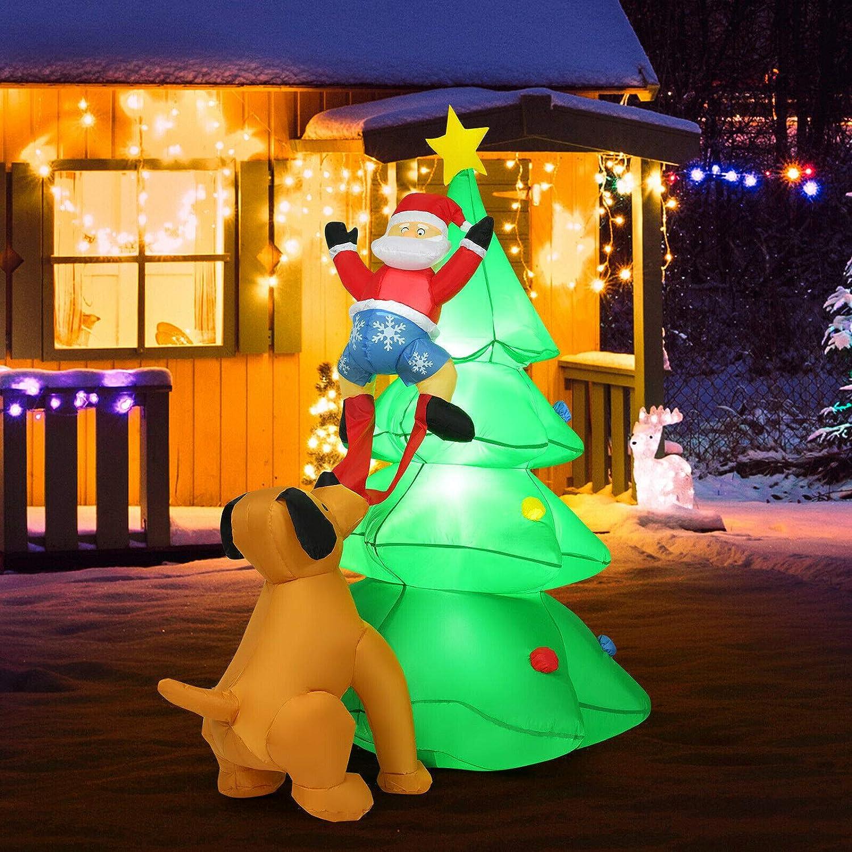 6.5FT Inflatable Christmas Tree Santa Decor w/LED Lights Outdoor Yard Decoration