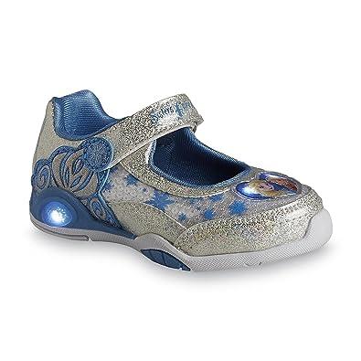 66200c1dbf0b Amazon.com: Disney Toddler Girls Frozen Silver/White Light-Up Mary Jane Shoe  (12 M US Little Kid): Shoes