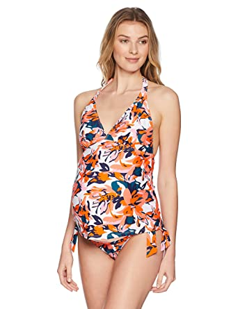 adbe5bdddaf34 Maternal America Women's 2pc Halter Maternity Tankini at Amazon Women's  Clothing store: