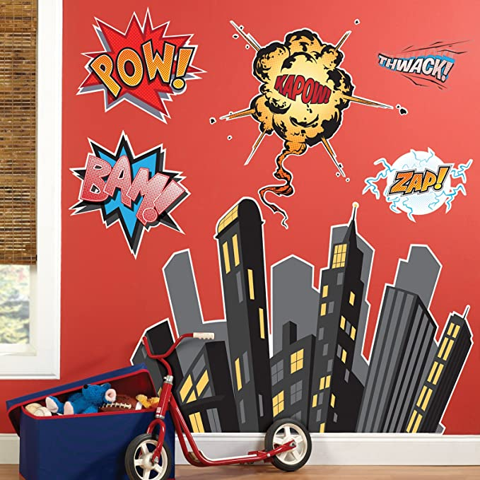 Elegant BirthdayExpress Superhero Comics Room Decor   Giant Wall Decals
