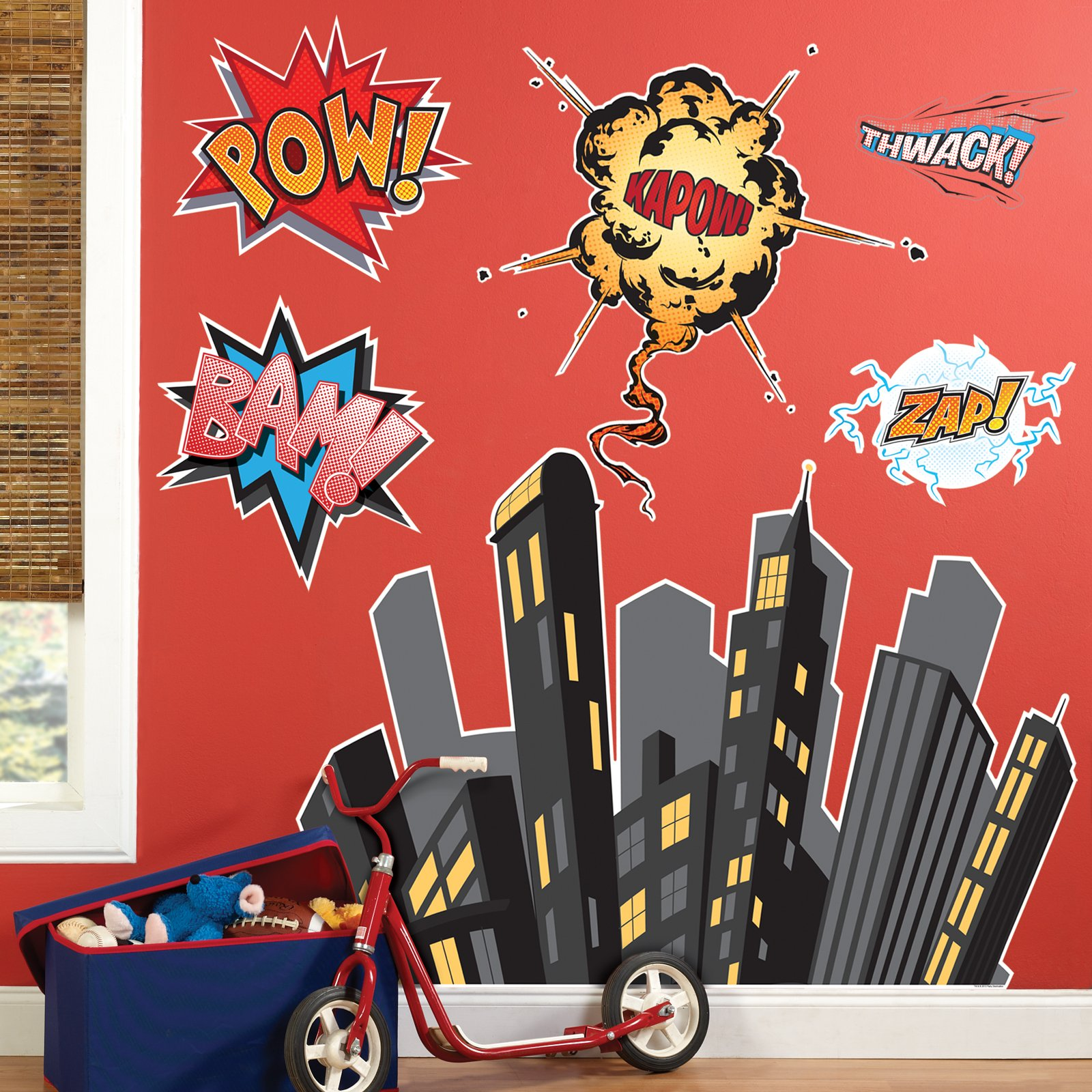 BirthdayExpress Superhero Comics Room Decor - Giant Wall Decals