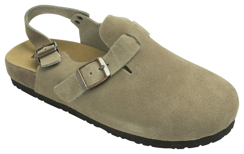 KARA Womens Genuine Suede Leather Clog Slingback Sandal,Beige,US 8,B(M)