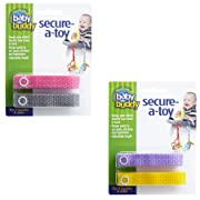 Baby Buddy Secure-A-Toy, Safety Strap Secures Toys, Teether, or Pacifiers to Strollers, Highchairs, Car Seats—Adjustable Length to Keep Toys Sanitary Clean Pink/Grey/Lilac/Yellow 4 Count