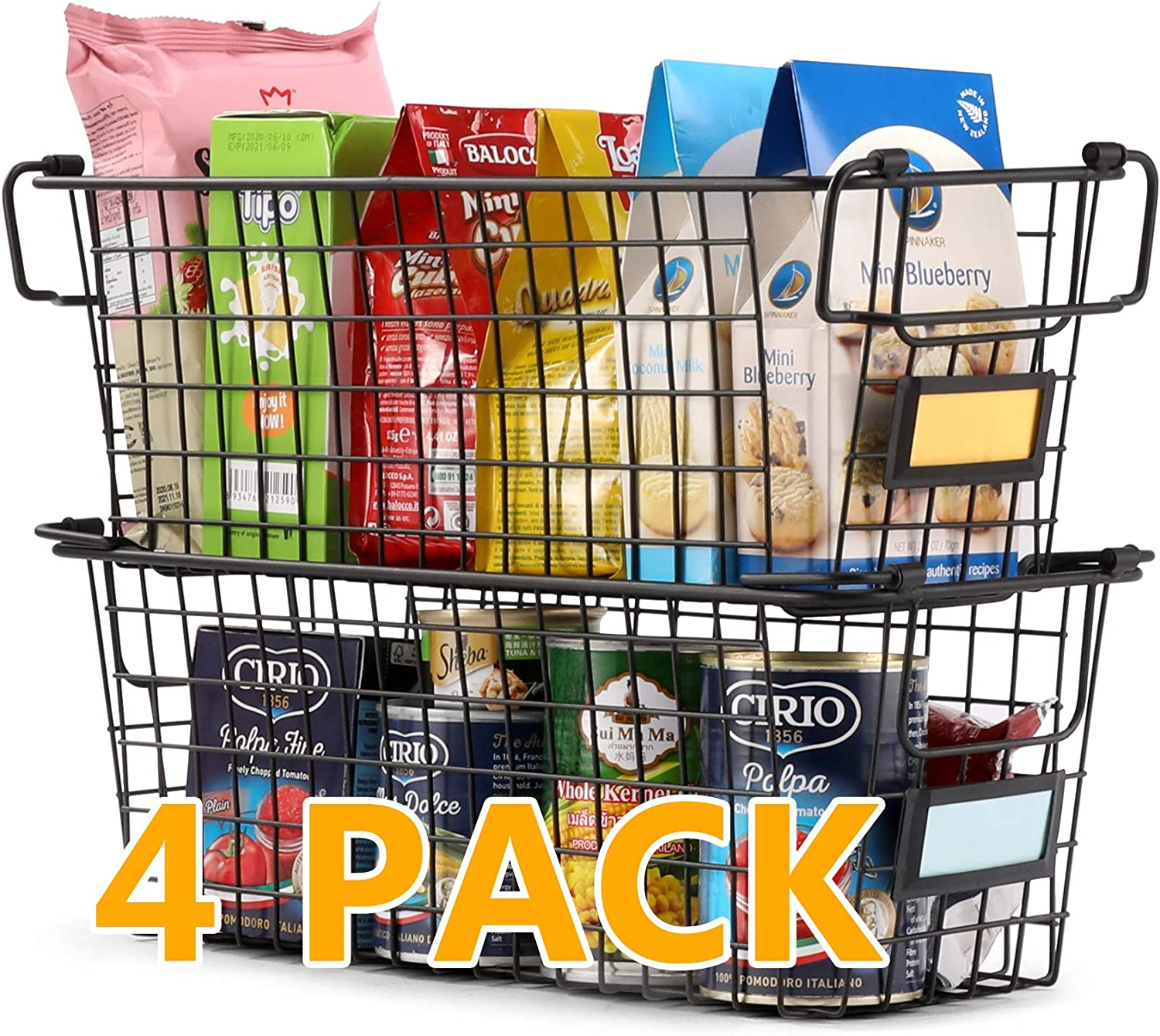 4 Pack Large Stackable Wire Baskets For Pantry Storage and Organization - Metal Storage Bins for Food, Fruit - Kitchen Bathroom Closet Cabinets Countertops Organizer