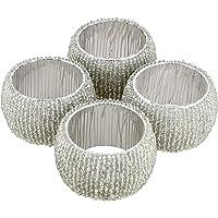 Handmade Indian Silver Beaded Napkin Rings - Set of 4 Rings