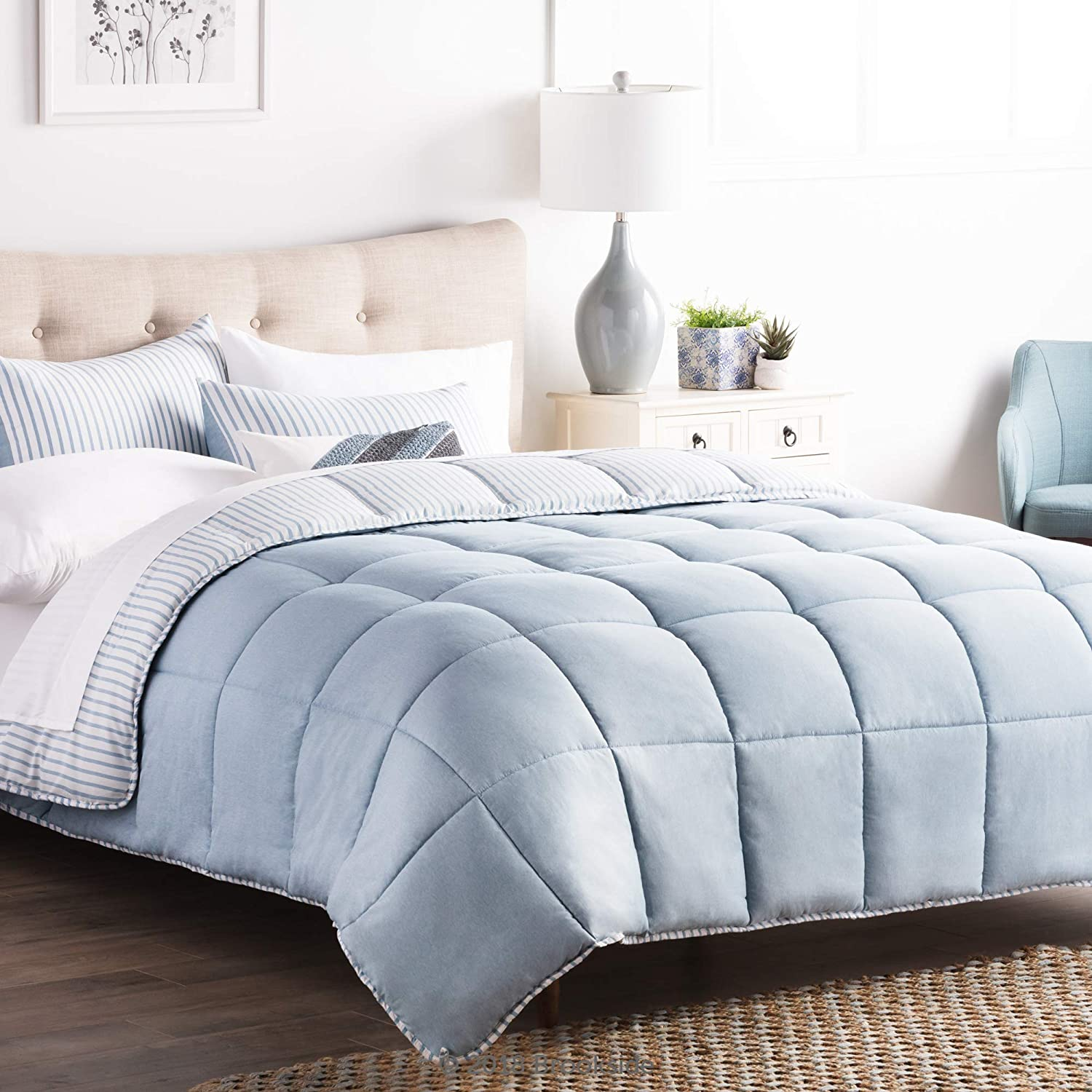 Brookside Striped Chambray Comforter Set - Includes 2 Pillow Shams - Reversible - Down Alternative - Hypoallergenic - All Season - Box Stitched Design - Queen - Calm Sea Blue