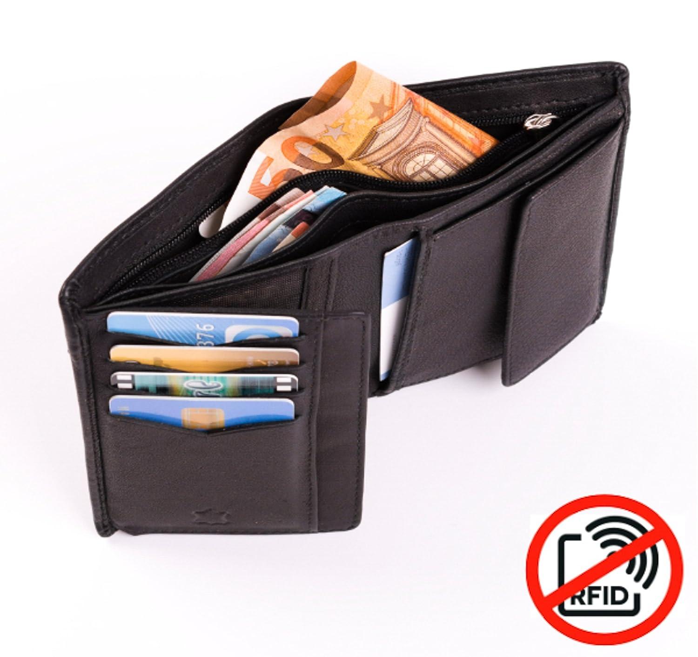 cc01ebfca4d9b8 RFID Geldbeutel Herren Leder Schwarz-Oliv mit Zierschlitz I Slim Geldbörse  Hochformat JOriginal: Amazon.de: Koffer, Rucksäcke & Taschen