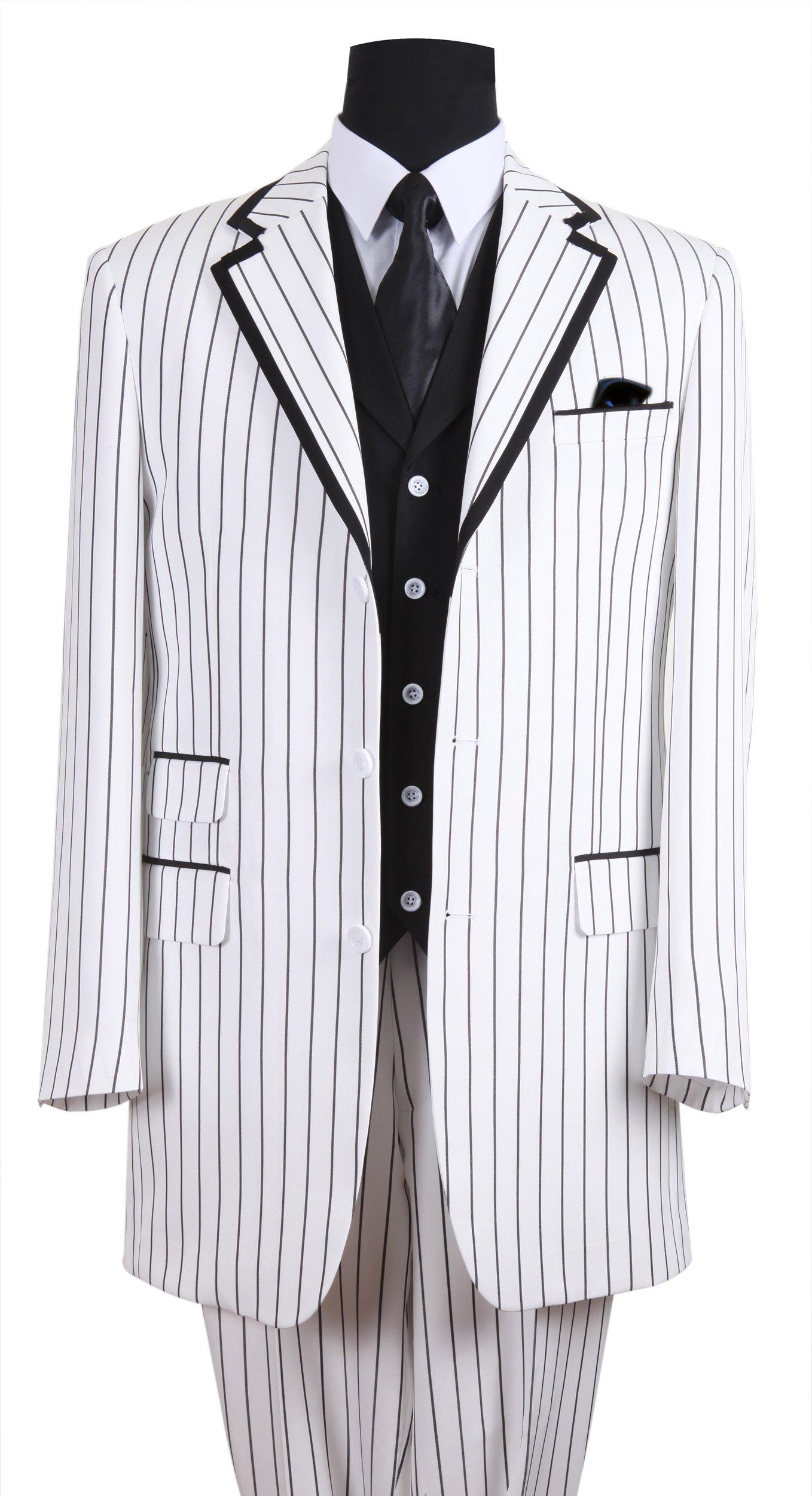 Milano Moda Men's High-end Luxurious Wool Feel 3-Pcs Suits Vest Cotrast Color 5908V