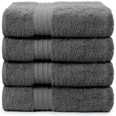 4-Piece Bath Towels Set for Bathroom, Spa & Hotel Quality | 100% Cotton Turkish Towels | Absorbent, Soft, and Eco-Friendly (Dark Grey)