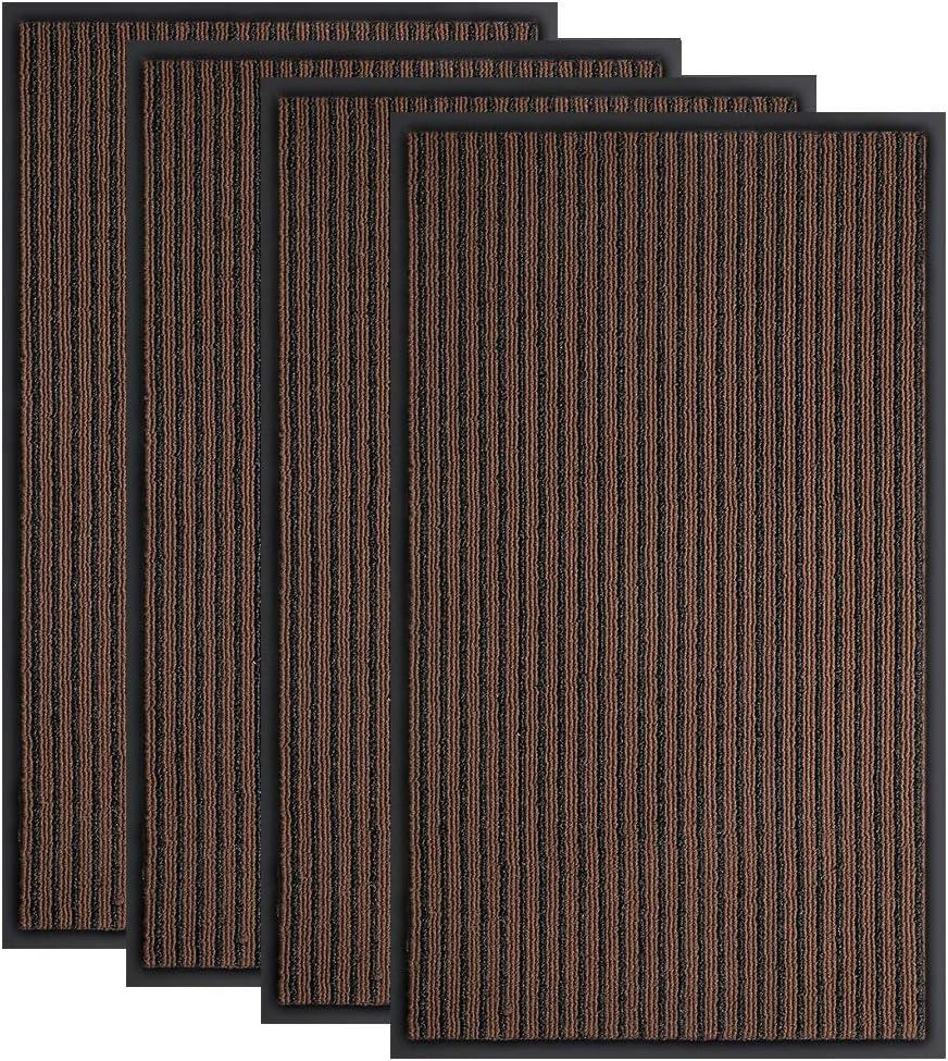 "Bertte Door Mat Outdoor Rubber Garage Floor Welcome Doormat Waterproof Heavy Duty Entryway Carpet Low-Profile Easy Clean Odorless Entrance Rug for Patio High Traffic Areas, 18""x 30"", Brown - 4 Pack"