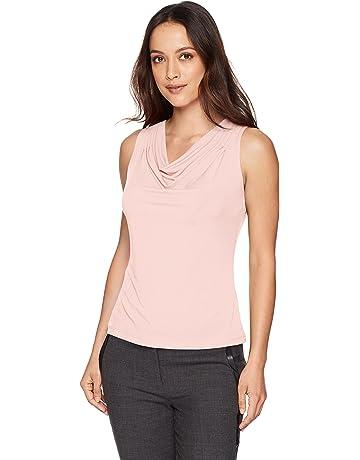 5a5a2e3aa630b2 Calvin Klein Women s Petite Solid Drape Neck Cami
