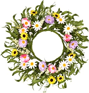 """Artificial Floral Wreath,20""""Flower Wreath with Green Leaves and Clusters of Berries Spring and Summer Wreath for Front Door Wall Window Decor"""