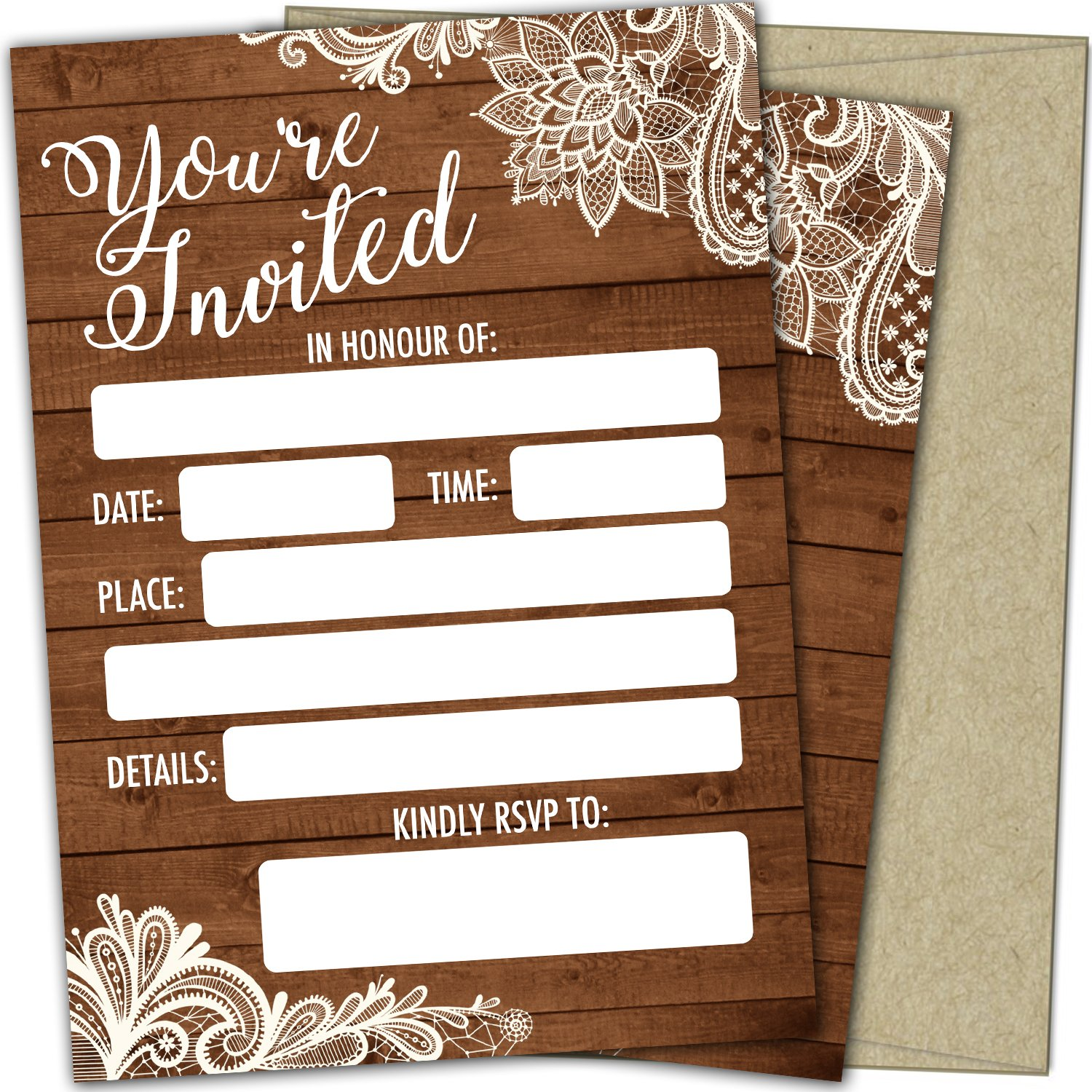 T Marie 25 Party Invitations With Envelopes Fill In the Blank