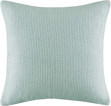 Ink Ivy Bree Knit Square Pillow Cover 20x20 Aqua Amazon Ca Home Kitchen
