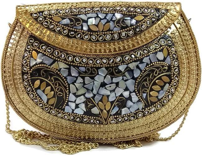Trend Overseas Étnica Vintage Múltiples hechas a mano de metal Mosaico piedra monedero mano embrague bolso para las mujeres embragues para las mujeres