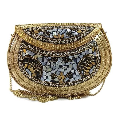 Trend Overseas Étnica Vintage Múltiples hechas a mano de metal Mosaico piedra monedero mano embrague bolso