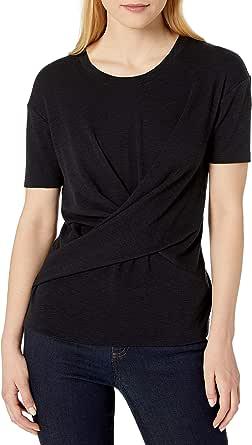 Amazon Brand - Daily Ritual Women's Cotton Modal Stretch Slub Short-Sleeve Wrap T-Shirt