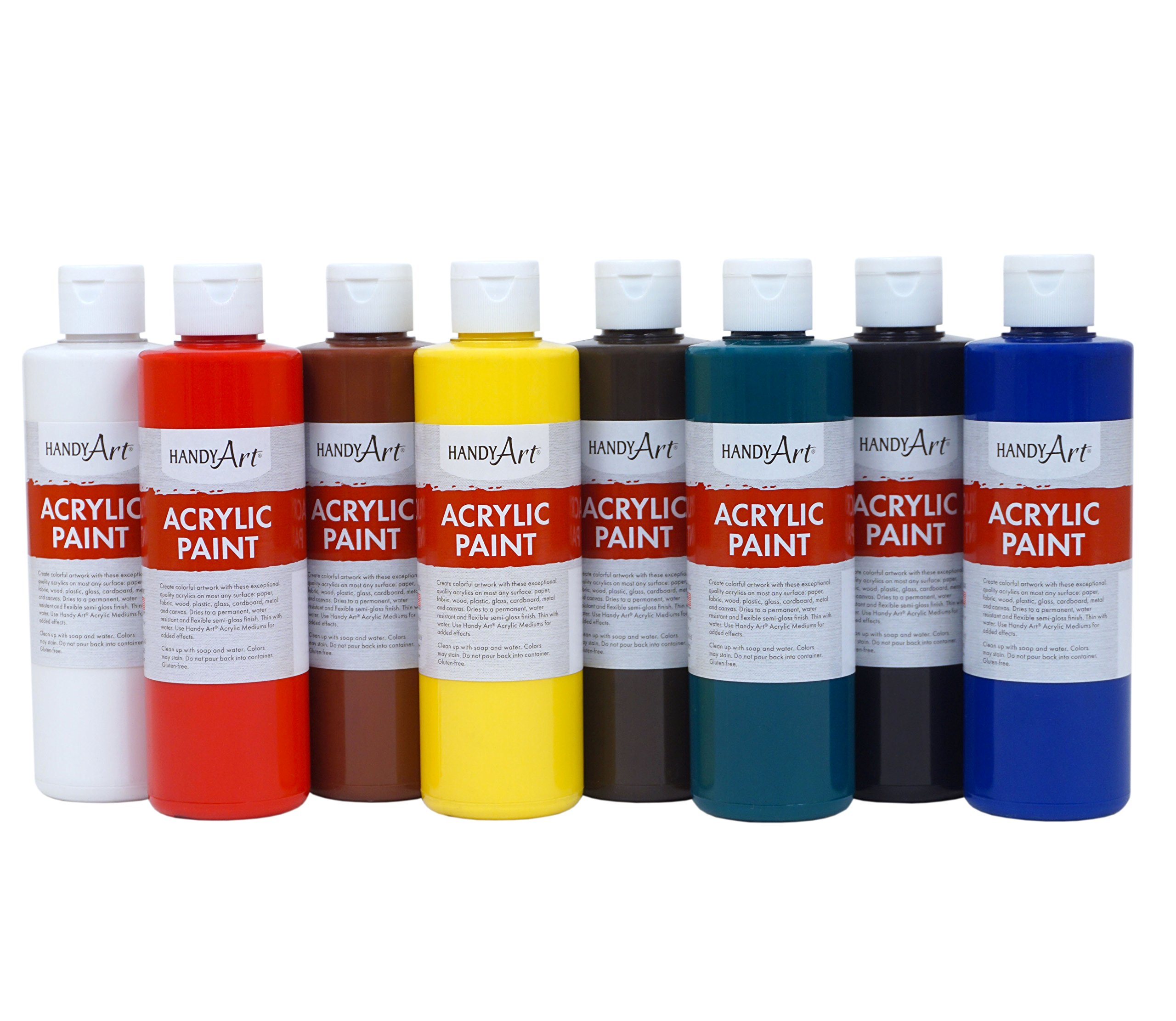 Handy Art 8 Color-8 Ounce Primary Acrylic Paint Set, Assorted