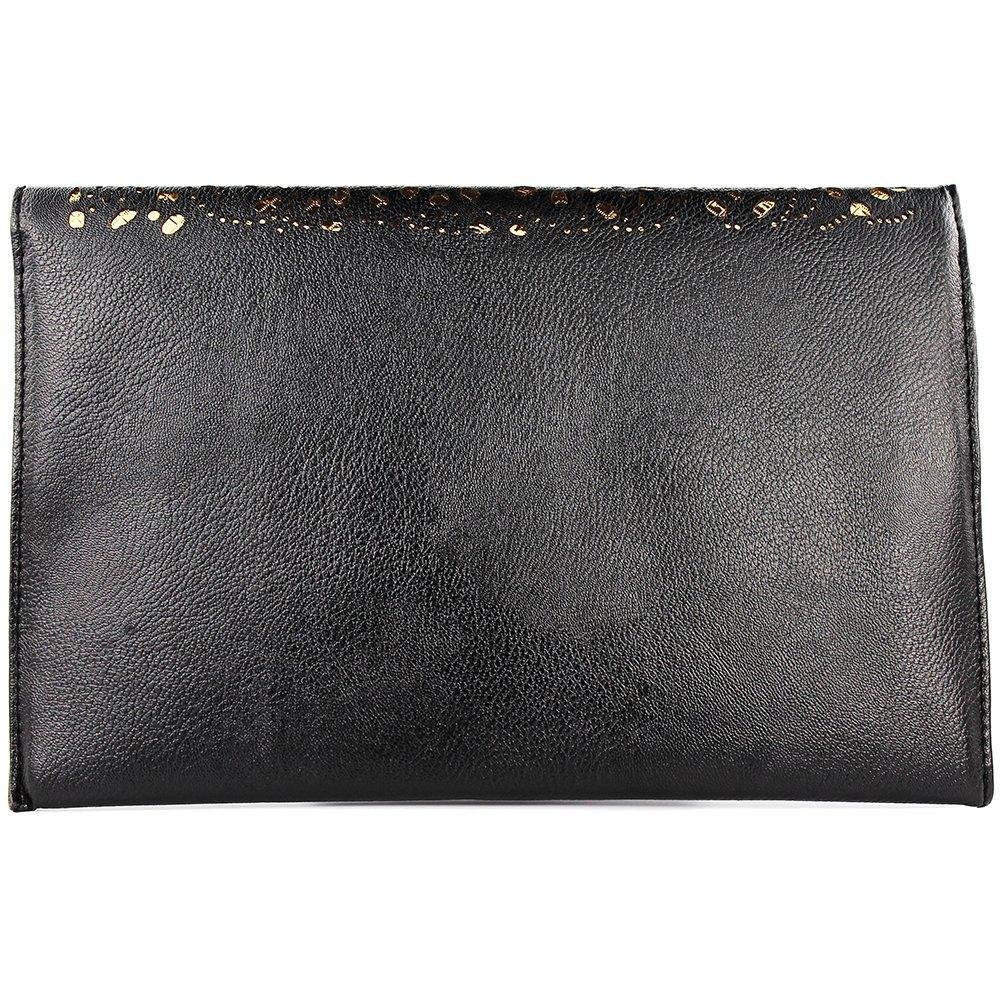 Imentha Bolsos de hombro de cadena de la manera del bolso monederos y bolsos Bolsas Femininas día del bolso de embrague hueco hacia fuera para Negro