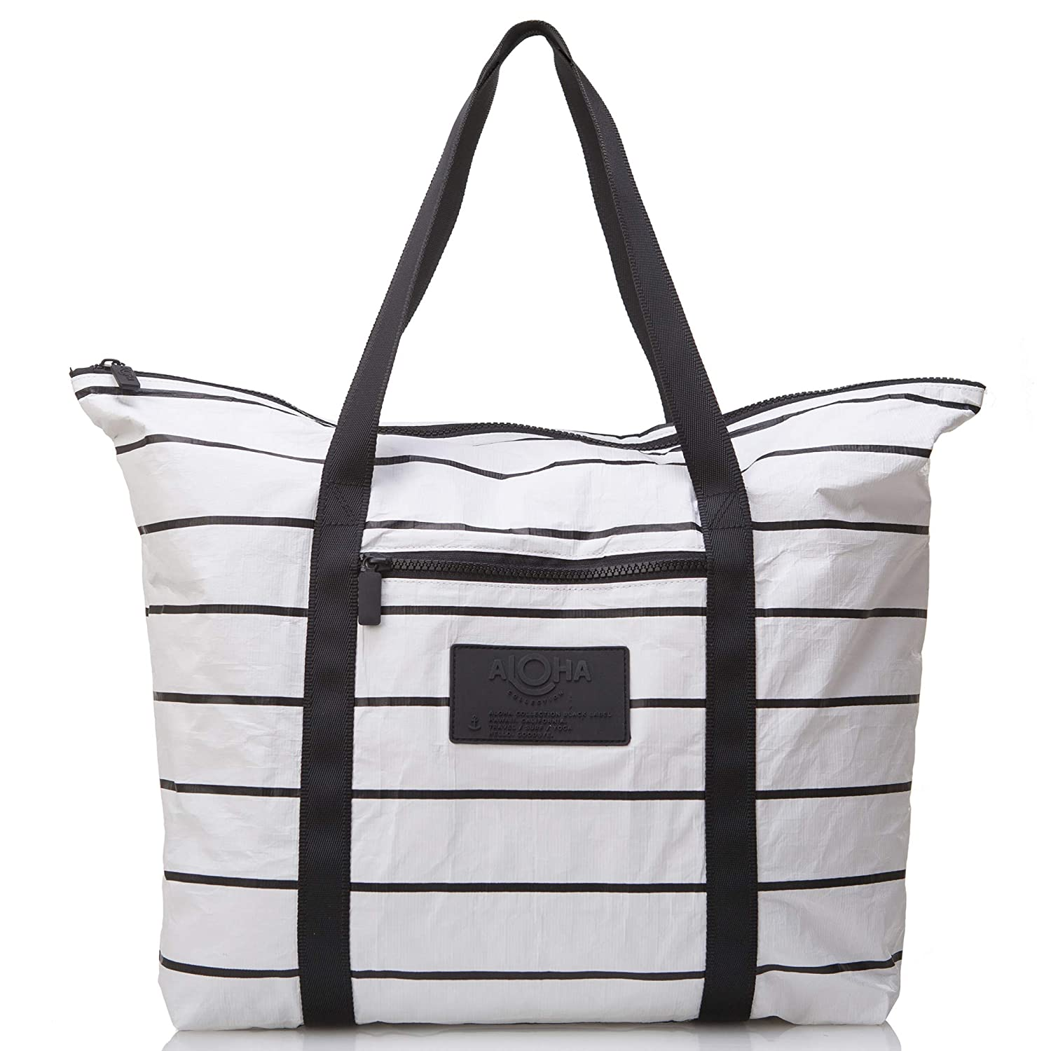 The ALOHA Collection Pinstripe Zipper Tote travel product recommended by Jennifer Pearson on Lifney.