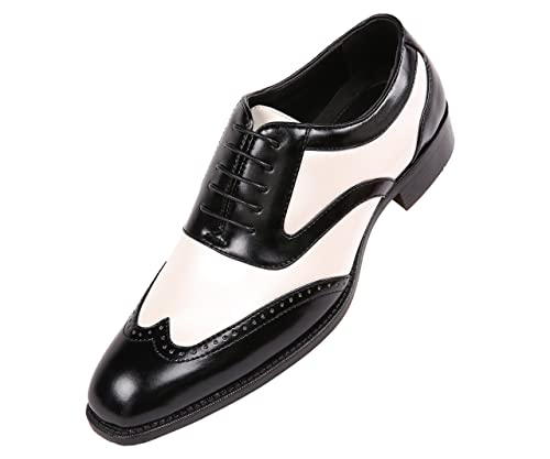 1940s Mens Shoes | Gangster, Spectator, Black and White Shoes Bolano Men's Two-Tone Metallic Black Smooth Lace up Oxford Dress Shoe Wingtip Spectator Style Lawson $59.99 AT vintagedancer.com