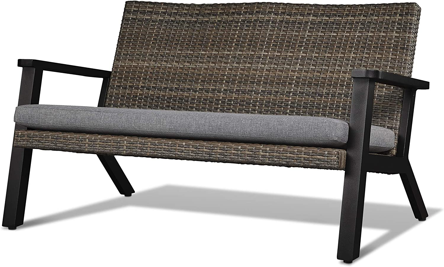 Real Flame 1121-BLK Norwood Two Seat Bench Brown//Gray Wicker