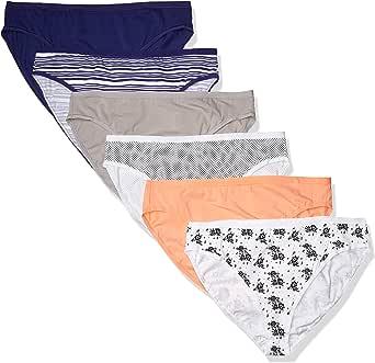 Amazon Essentials Women's Plus-Size 6-Pack Hi-Cut Cotton Stretch Bikini Panty