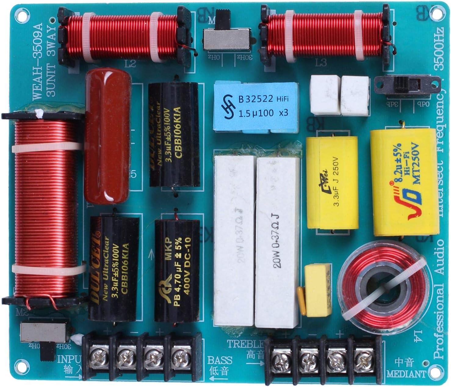 Fltaheroo 1Pc 350W 3 Ways Crossover Audio Board Tweeter+Mediant+Bass Frequency Divider for 4-8Ohm DIY Ktv Stage Speaker Filter