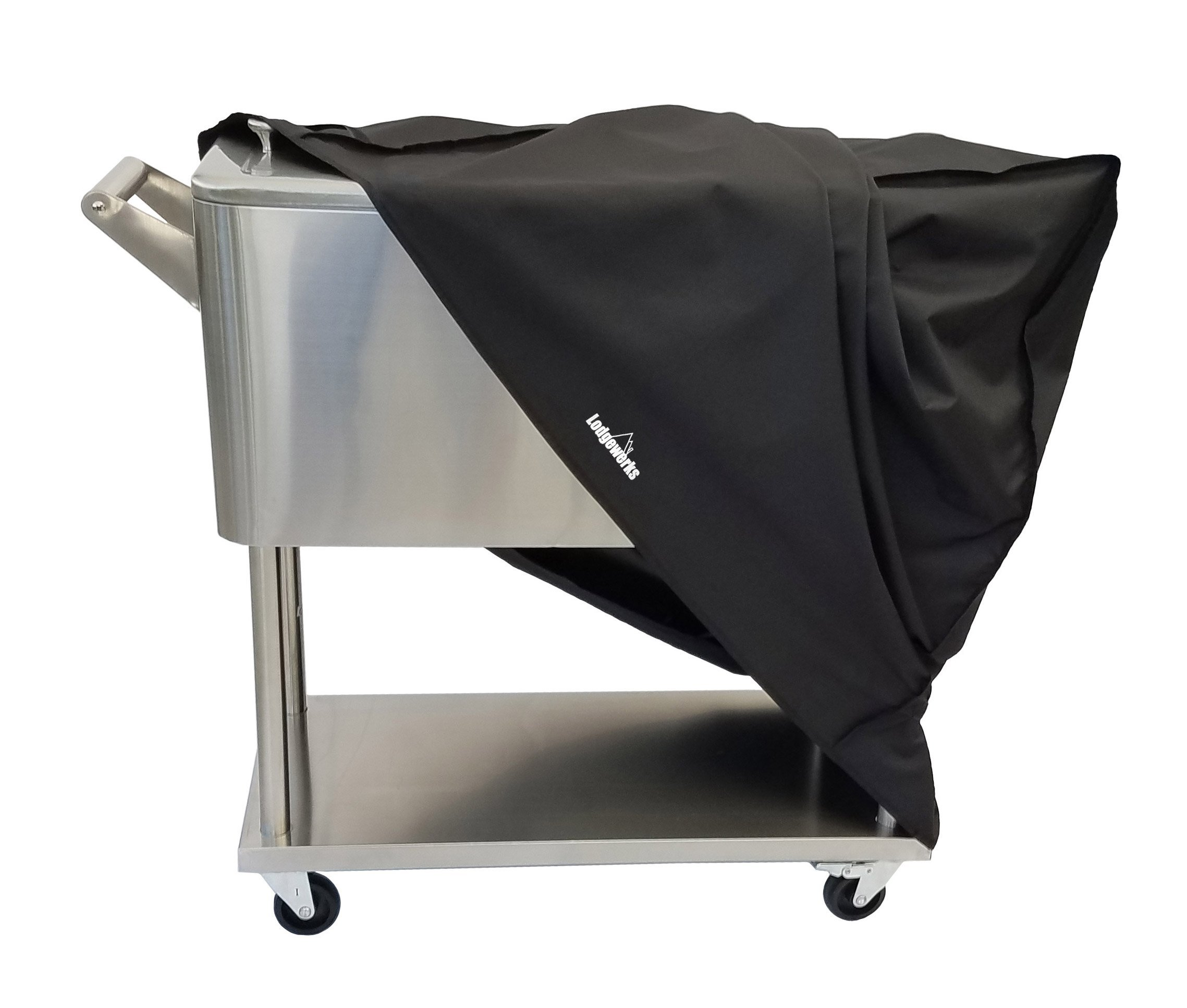 Cooler Cart Cover - Universal Fit For Most 80 QT Rolling Cooler (Patio Cooler On Wheels, Beverage Cart, Rolling Ice Chest, Party Cooler) Protective Cover, Water Proof, New 2018 by Lodgewerks