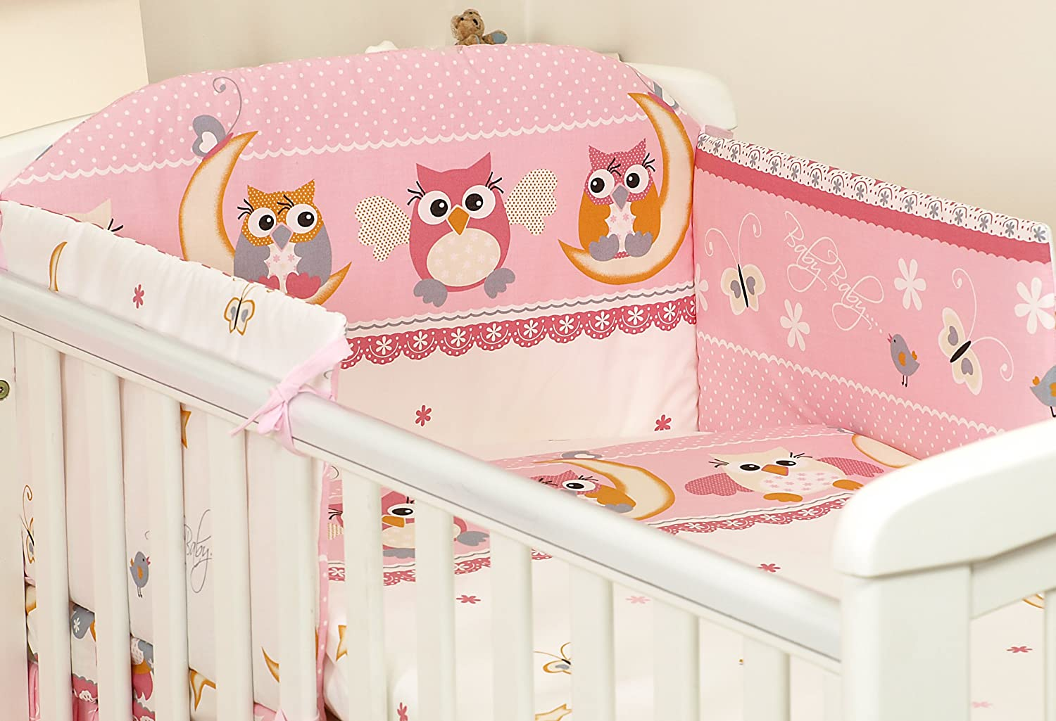 2 Piece Kids Cotton Duvet Cover Pillowcase for Baby Crib//Cot//Junior Bed Owls