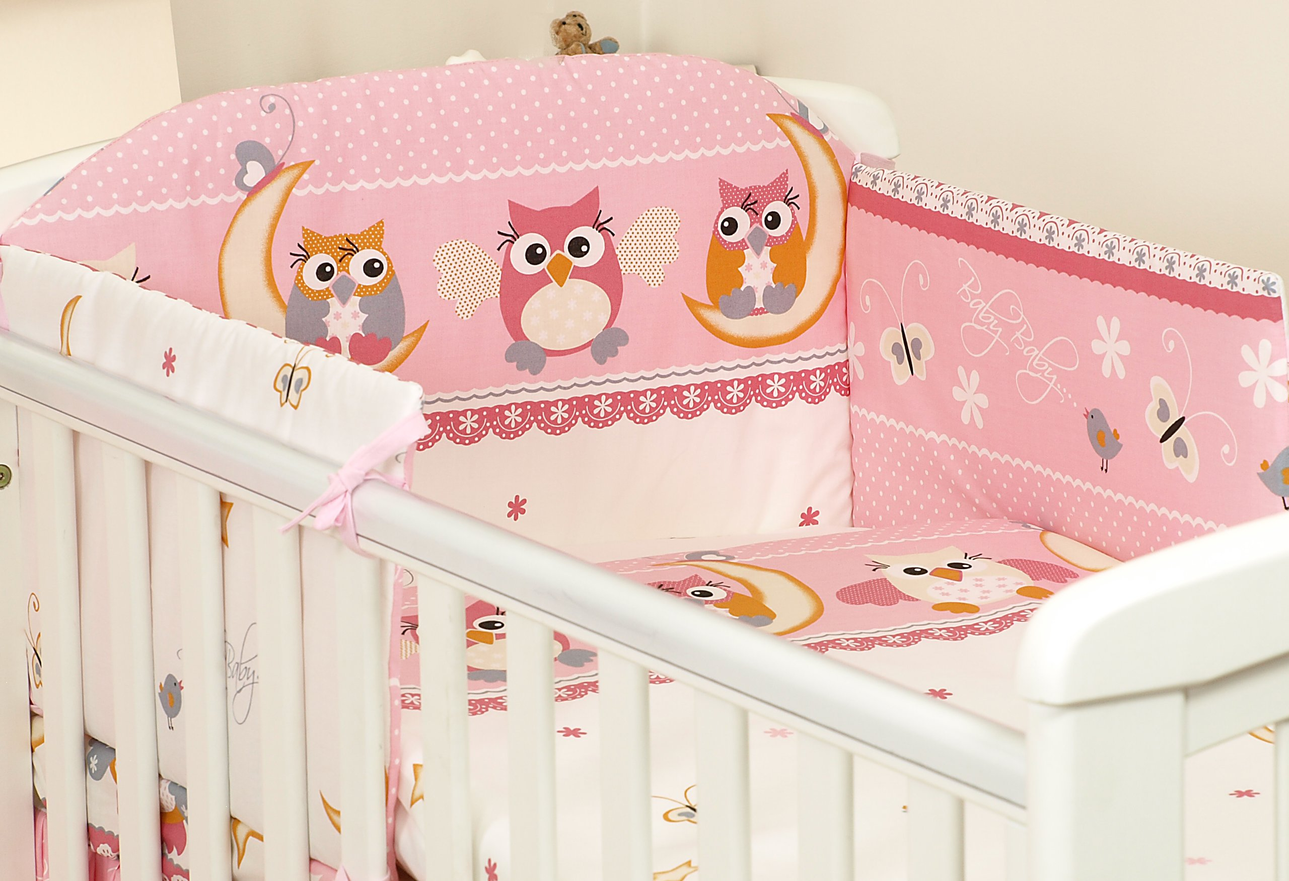 Owls Turquoise BABY BEDDING SET CRIB CRADLE 10 Pieces PILLOW DUVET COVER BUMPER CANOPY to fit Crib 90x40cm 100/% COTTON