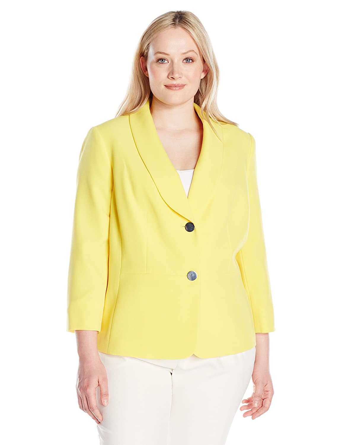 b841a429a2c Amazon.com  Kasper Women s Plus Size 2 Button Shawl Collar Jacket  W Seaming  Clothing